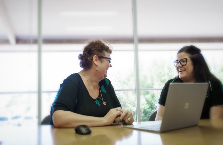 Accountant Kerry Amps with client at Geraldton Office